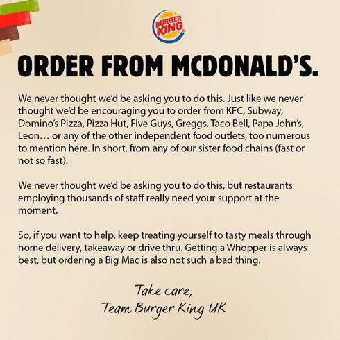 英国バーガーキングがツイートした文章