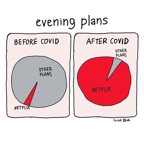 「夜の予定はほとんどNetflixが占拠」 海外イラストレーターの「COVIDビフォーアフター」が分かりすぎる