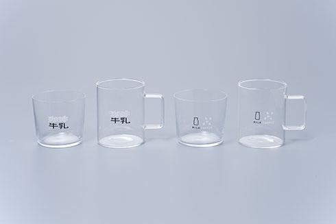 珈琲牛乳のグラス4種類を並べた画像
