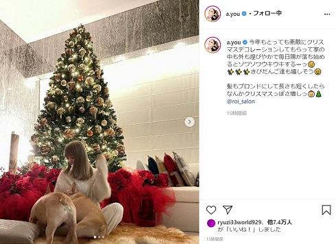 浜崎あゆみ クリスマス ツリー 自宅 部屋 愛犬 ブロンド