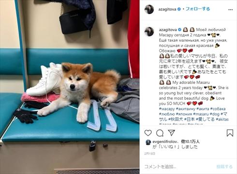 アリーナ・ザギトワ マサル 秋田犬 平昌五輪 金メダル フィギュアスケート インスタ