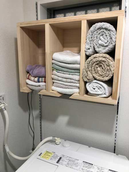 タオル 整理 棚 先入れ 先出し 自作 便利 アイデア
