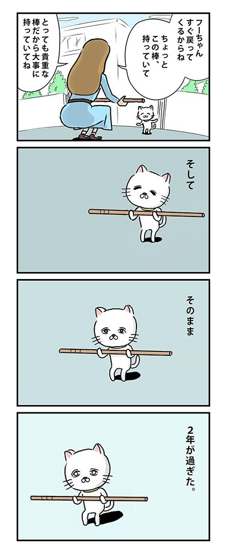 貴重な棒を持つ猫
