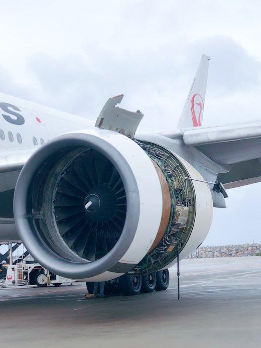 JAL 904便 エンジントラブル 緊急着陸 那覇空港 日本航空