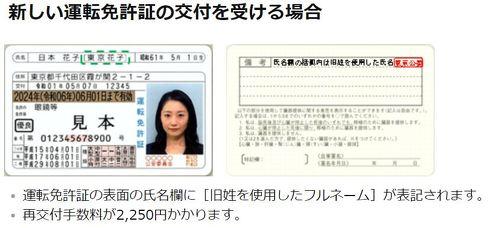運転免許証 旧姓表記