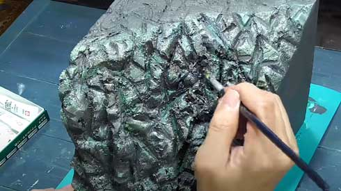 神社 不思議な生き物 ジオラマ 製作 レジンアート メイキング 神秘的 社 守護者