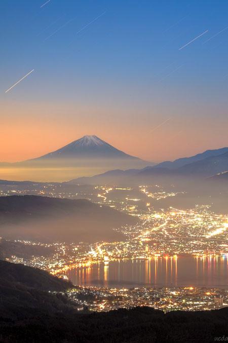 長野県 高ボッチ高原 富士山 諏訪湖 夜景 写真 シャッターポイント
