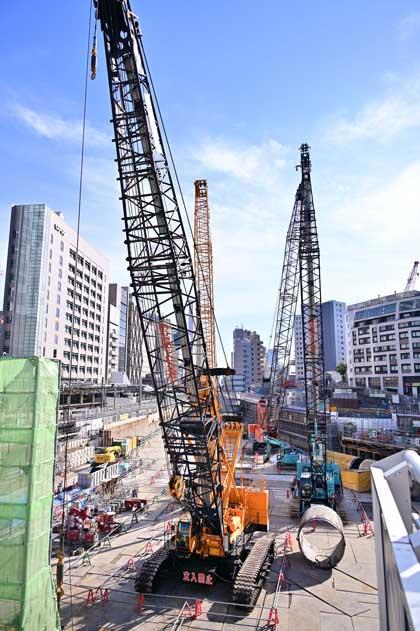 渋谷駅前 重機 大博覧会 写真 再開発 工事現場 クレーン ロマン