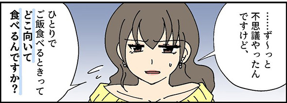 """「どこ向いて食べるんですか?」と同僚に聞かれた体験漫画 意外と分かれる""""ひとり飯""""できる派・できない派"""