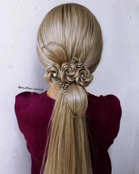 編み込みヘアレンジメント