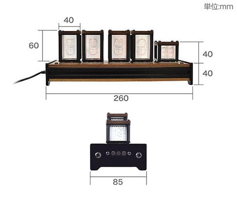 ニキシー管風置き時計 商品サイズを示す図