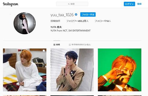 YUTA ユウタ 中本 悠太 NCT127 インスタ Instagram 1位