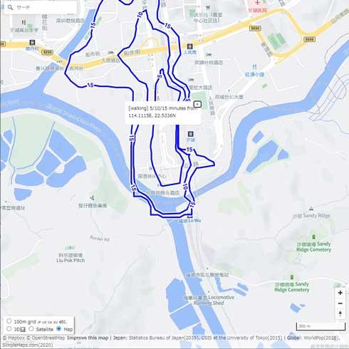 任意の場所から 5分 10分 15分圏 調べる 範囲 地図 開発 Mapbox API