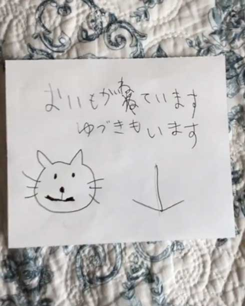 猫 張り紙 おやすみ 寝ている 片付けないで おいも 息子 手描き メモ