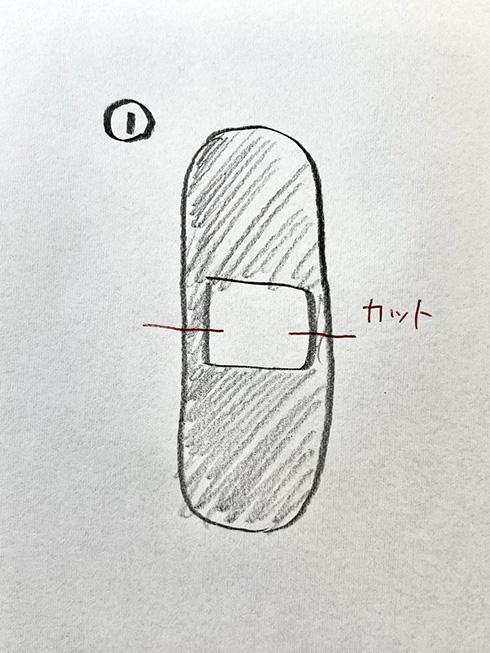 絆創膏の両側をカットするだけ 指先の割れにフィットする貼り方がすごい