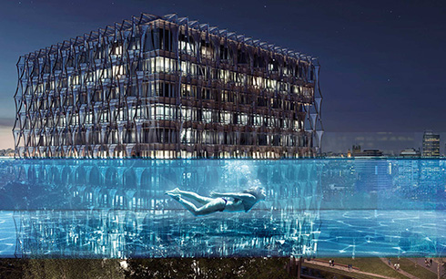 空中を泳ぐような体験ができるかも? ロンドンにビルとビルをつなぐ橋のようなプールが登場