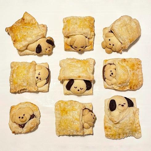 パイ生地のお布団に包まる おいぬクッキー