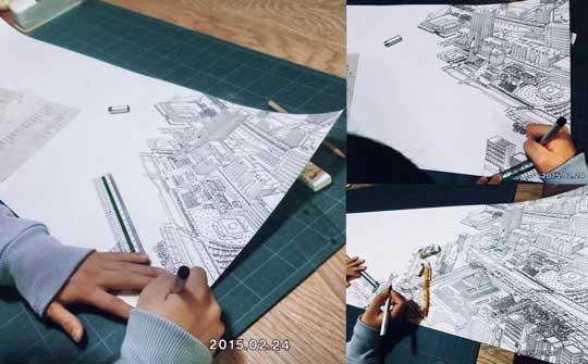 中学1年生 13歳 描いた 絵 制作風景 空想の街