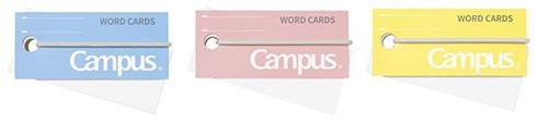 キャンパス バンドでまとまる単語カードのカラーバリエーション