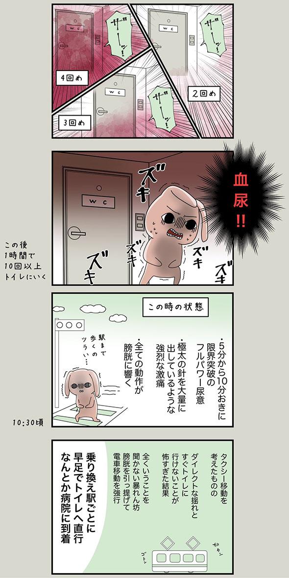 膀胱炎の体験をつづった漫画・2ページ目
