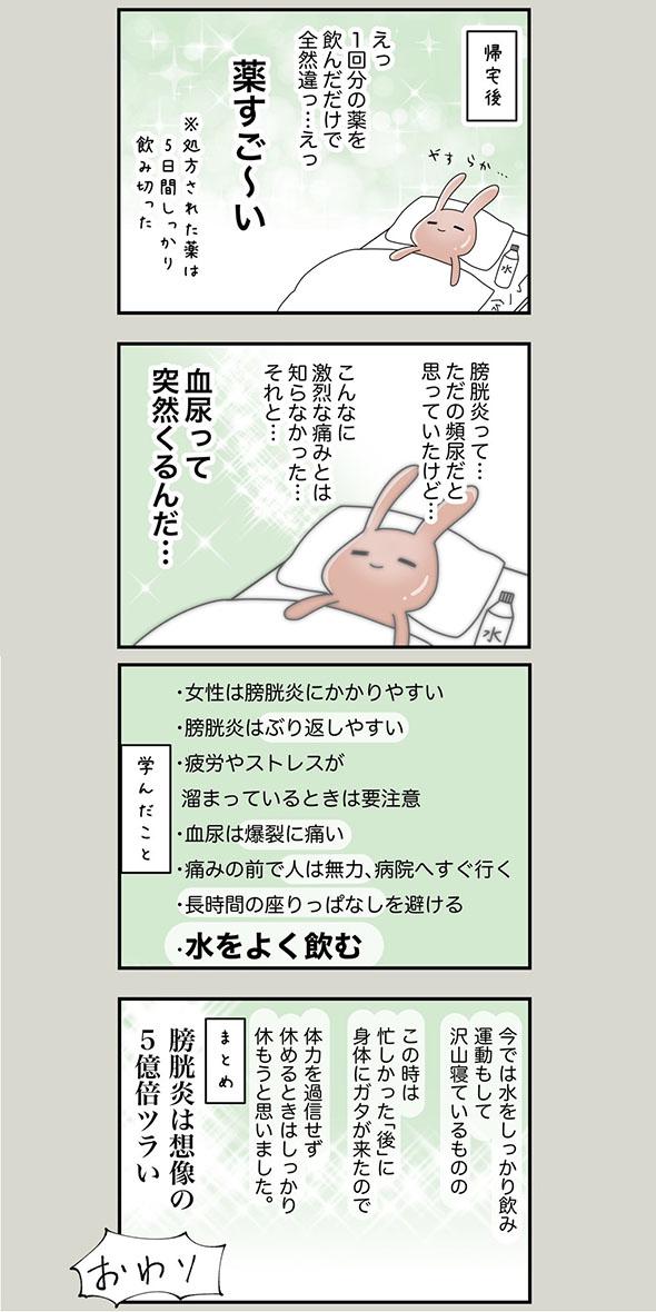 膀胱炎の体験をつづった漫画・4ページ目