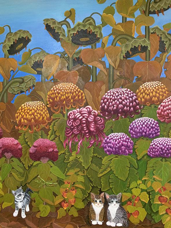 ひまわりと菊の絵画