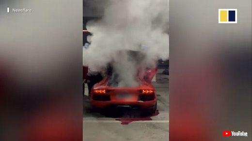 中国 ランボルギーニ 焼き肉 エンジン 白煙 壊す