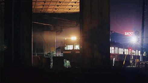 岳南電車 工場 夜景 踏切 静岡
