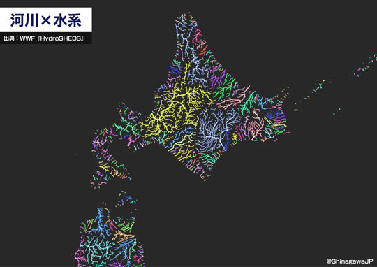 川だけ 日本列島 描いてみた 河川 水系 データ 分析