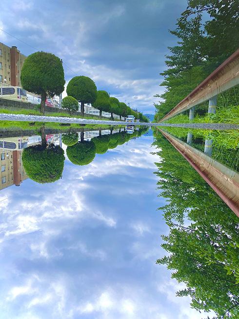 水溜まりに反射する空を記録した写真 水鏡が美しすぎて天と地の見分けがつかない