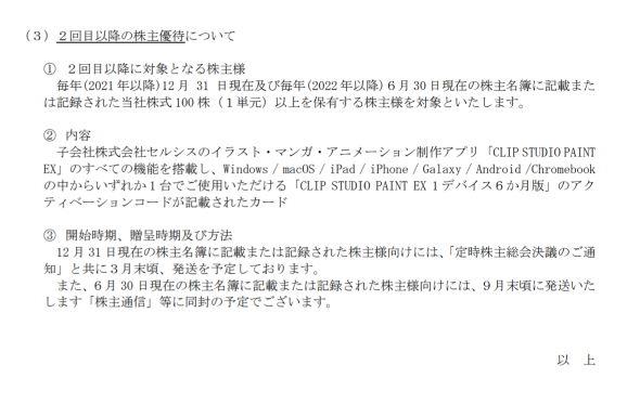 アートスパーク セルシス CLIP STUDIO PAINT EX 株主優待 無料