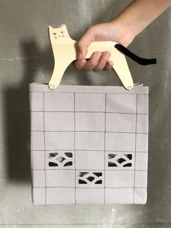 ハンドメイド 娘 猫 ブロック塀 バッグ