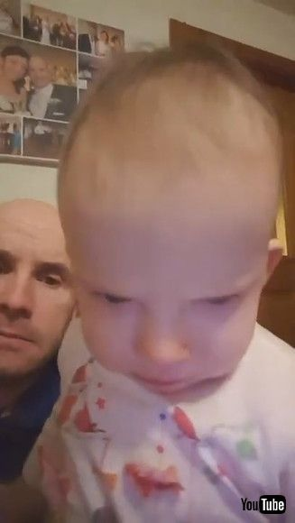「Toddler Playfully Displays Mom's Facial Expressions From When She Gets Mad at Dad - 1200828」