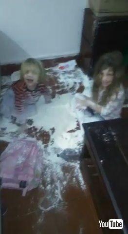 「Kids Spill Flour All Over the Kitchen Floor - 1203288」