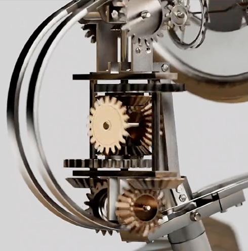 地球儀上のピンを動かして使える世界時計 からくり機構がアナログファンの好奇心を刺激する