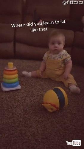 「Baby Copies Kitty to Sit Comfortably    ViralHog」