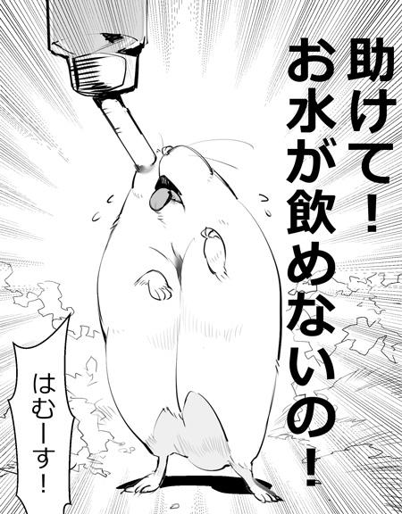 水飲みハムスター漫画切り抜き