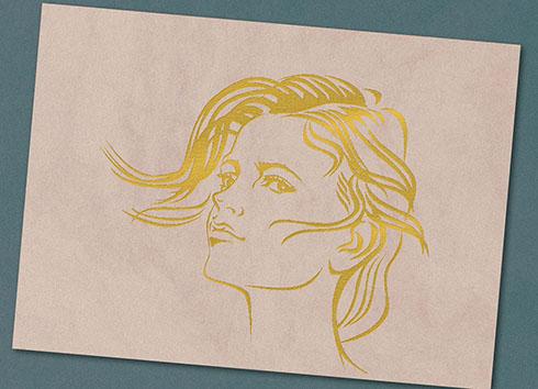 メタリックデコペン作品例・女性の線画
