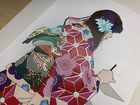メタリックデコペン作品例・日本画