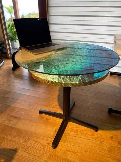 ガラス レジンアート テーブル 南国 ビーチ 海 砂浜 ハンドメイド