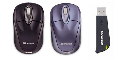 39e23c21da4 Wireless Notebook Optical Mouse 3000 Mica Black(左)/同 Mica  Blue(中)、および同梱のUSBレシーバ(右)