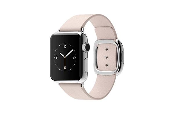 Apple Watch 38mm ステンレススチールケースとソフトピンクモダンバックル