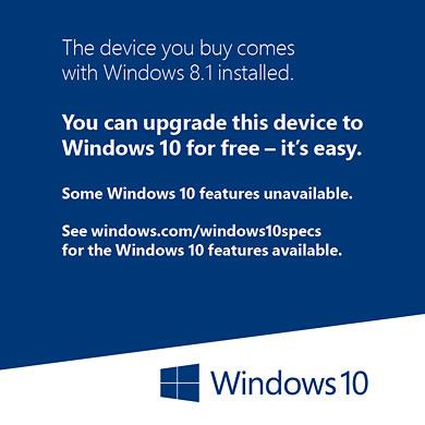 Windows 10アップグレード対象ステッカー