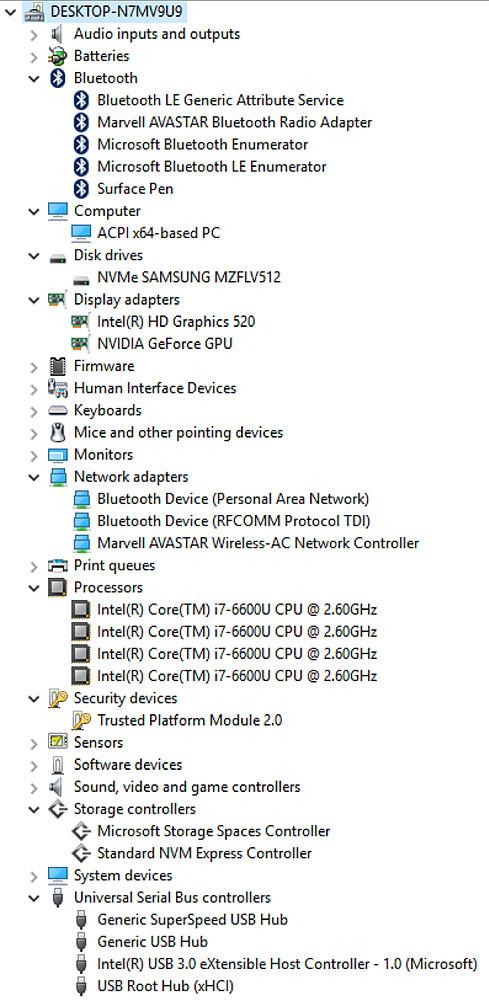 Surface Bookのデバイスマネージャー画面
