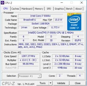 CPU-ZのCPU情報