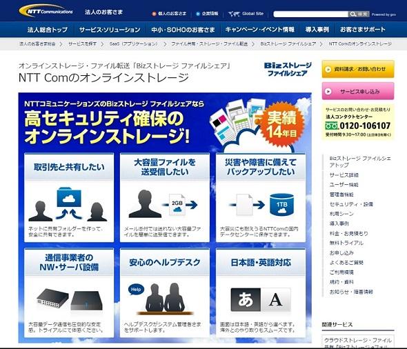 NTT Comの「Bizストレージ ファイルシェア」