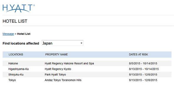 日本で被害にあったホテル群