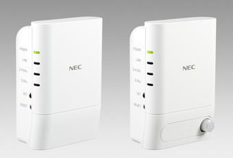 Wi-Fi中継機「Aterm W1200EX」(左)と人感センサー付きモデル「Aterm W1200EX-MS」(右)