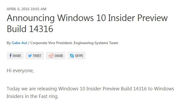 「Build 14316」