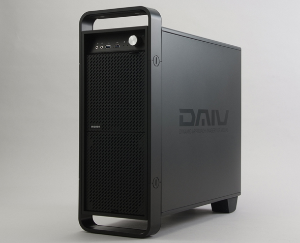 e3ad45172a クリエイター向けブランド「DAIV」のミニタワー型デスクトップPC。オリジナルデザインの個性的なフロントマスクだ